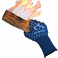 Gloves Heat Resistant Fireplace BBQ Grilling Oven Forearm Protection Stove Men