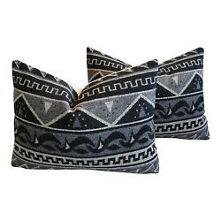 Unique 1950s Trading Camp Wool Blanket Pillows - A Pair