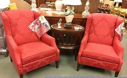 NWT New Pair of New Ethan Allen Red Wing Back Arm Chairs Armchairs