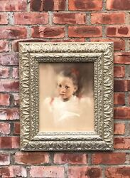 Minnesota Artist Bonita Roberts Pastel Portrait Of A Pretty Little Girl. Signed