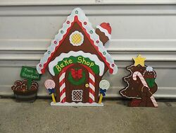 Christmas 3 Piece Gingerbread Bake Shop Wood Outdoor Yard Art Lawn Decoration