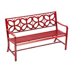 Retro Red Metal Butterfly Garden Bench Iron Power Coated Rust Proof Unique Decor