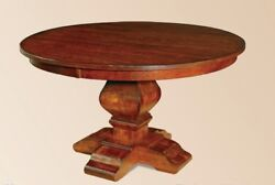 Amish Rustic Round Pedestal Dining Table Distressed Solid Wood Oak 48