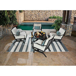 5 Piece Patio Chat Set With Fire Pit Wood Burning Table Outdoor Furniture Chairs
