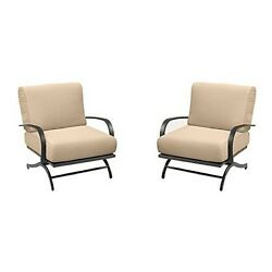 The Outdoor GreatRoom Company Chat Collection Rocking Chairs with Tan Cushions-
