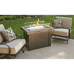 Providence Marbelized Noche Crystal Fire Pit Table with Bronze Metal Base NEW