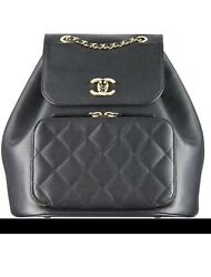 Auth. Chanel BNIB 2017 Spring-Summer Backpack Black Caviar leather