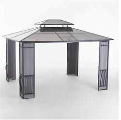 Madison 12 ft. x 10 ft. Black Steel Gazebo Garden Decor Home Shed Patio Outdoor