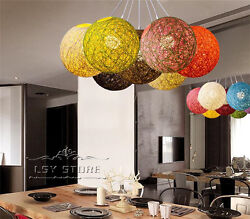 Creative Rural Hemp Rope Ma Ball Rattan Light chandelier aisle lamp Chandelier $89.99