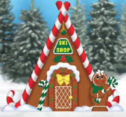 Christmas Gingerbread Ski Shop Wood Outdoor Yard Art Christmas Decor Christmas