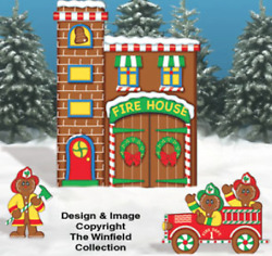Christmas 3 Piece Gingerbread Firehouse Wood Outdoor Yard Decor Art Christmas