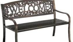 Outdoor Bench Patio Front Porch Furniture Black Metal Seat Lawn And Garden Decor