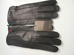 BNWT Beautiful Designer GUCCI Mens Black Leather Gloves Cashmere Lined  9  ITALY