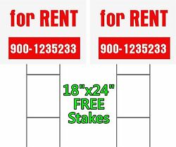 SET of 2 Yard Signs 18 x 24quot; For Rent 2 Sided Free Stakes Commercial Signs