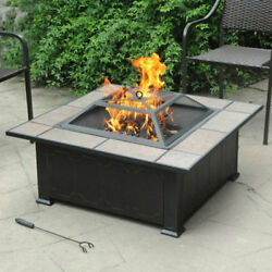 Outdoor Fire Pit Table Wood Burning Tile Top Screen Poker Square Back Yard New