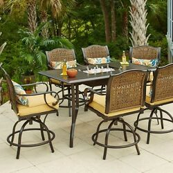 Home Garden Furniture Steel Rectangle Patio High Dining Set with Solid Cushion