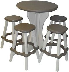 Home Decor Accent Furniture Bar Height Round Resin Patio Bistro Table Stool Set