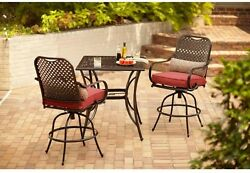 Home Outdoor Furniture Steel 3 Piece Bar Height Patio Dining Set with Cushion