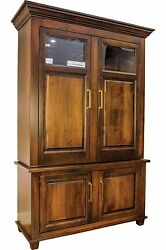 Large Amish Imperial Wine Hutch Home Bar Transitional Solid Wood Furniture