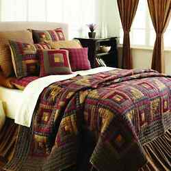 7-pc CALIFORNIA KING - Millsboro - Deluxe PATCHWORK QUILT Set - Log Cabin -VHC