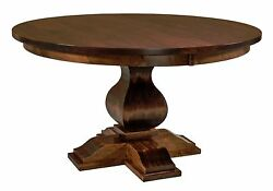 Amish Barrington Single Pedestal Dining Table Traditional Round Solid Wood