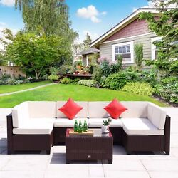 7 PC Patio Outdoor Furniture Rattan Wicker Garden Sofa Sectional Couch Set Brown
