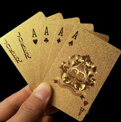 24K Gold Plastic Waterproof Cards Golden Playing Cards Deck gold foil poker $4.74