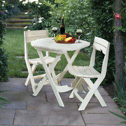 New Outdoor Patio Bistro 3 Pc Set Quik-Fold Table 2 Chairs Yard Garden Furniture