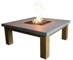 Cast Concrete Amish Table Fire Feature- Natural Gas