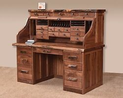 Amish Rustic Traditional Roll Top Desk Solid Wood Luxury Office Furniture