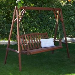 Brown Wood Curved Slat Back Patio Swing Optional Stand Outdoor Home Furniture