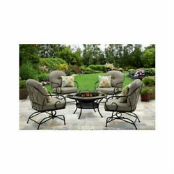Modern Outdoor Furniture Wrought Iron Patio Set Fire Pit Table 4 Chairs 5 Pc Set