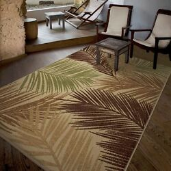 Indoor And Outdoor Rug For Patio Living Room Palm Breeze Multi-Colored 8 x 10 FT