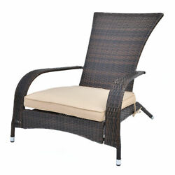 Outdoor Wicker Adirondack Chair Patio Porch Deck Furniture w Seat Cushion