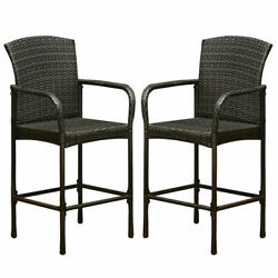2PCS Outdoor Rattan Wicker Bar Chair Seat Patio Furniture With Armrest