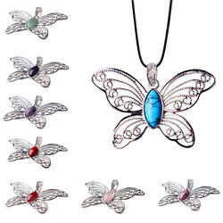 Natural Crystal Gemstone Butterfly Necklace Amethyst Quartz Silver Pendant Gift