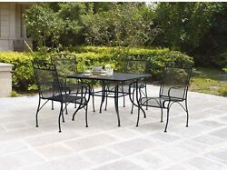 Wrought Iron Patio Furniture Mesh Table And Chairs Dining Set Outdoor 5 Pieces