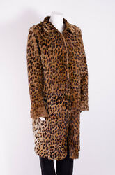 DOLCE & GABBANA D&G Brown Suede Leather Leopard Print Fur Reversible Coat 810