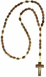 Mens Wooden Rosary Beads Necklace Jatoba Wood Made in Brazil 19 Inch