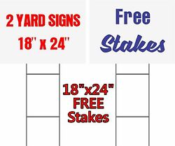 SET of 2 Custom Yard Signs 24quot; x 18quot; Free Stakes 2 Sided Commercial Signs