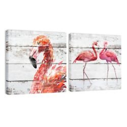 Flamingo Wall Art Framed Canvas Painting Rustic Animal Picture Living Room Decor