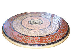 48'' White Marble Coffee Dining Table Top Mosaic Stone Inlay Patio Outdoor Decor
