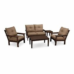 Plastic Patio Furniture Modern Outdoor Set Sofa Chairs Tables wBrown Cushions