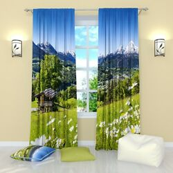 CABIN IN THE MOUNTAINS - Window Curtain Panel (Set of 2) Polyester 84