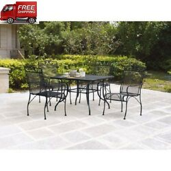 Patio Furniture Dining Set Wrought Iron Outdoor Table Chair Lawn Bistro Backyard