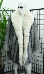 BRAND NEW NATURAL SILVER FOX FUR COAT JACKET MEN MAN W WHITE CURLY LAMB SZ ALL