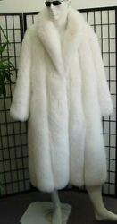 BRAND NEW CANADIAN PURE NATURAL WHITE FOX FUR COAT JACKET MEN MAN