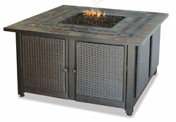 BLRN-GAD1393SP-LP GAS OUTDOOR FIREBOWL WITH SLATE TILE MANTEL & COPPER ACCENTS
