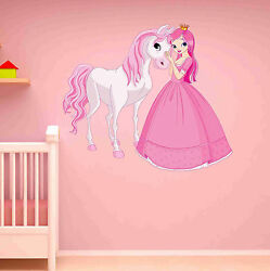Princess and Horse Wall Decal Wall Sticker Home Decor Wall Mural $49.95