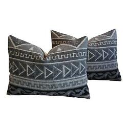 Charming 1950s Trading Camp Wool Blanket Pillows - A Pair